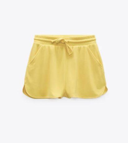 Желтые трикотажные шорты zara S