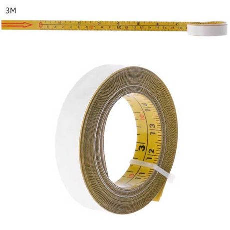 Fita Métrica de Aço Auto Adesiva, Milímetros e Polegadas 1, 2, 3, 5 MT