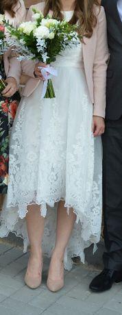 Ślubna piękna sukienka.Chi chi London. Ślub cywilny i kościelny. Midi.