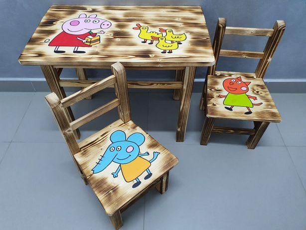 Krzesełko drewniane dla dzieci, stolik
