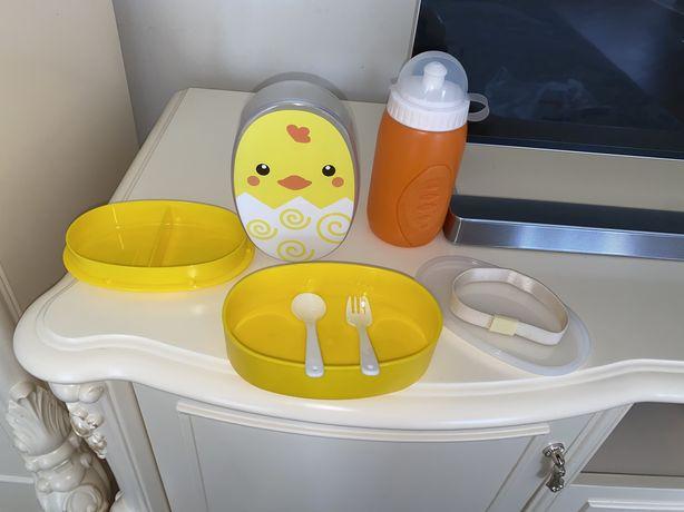 Ланчбокс Цыпленок, ланч бокс, контейнер для еды и бутылочка