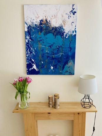 Obraz akryl abstrakcja płótno turkus niebieski 80x60