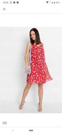 Nowa rozkloszowana sukienka w kwiaty szyfon rozmiar 36 Bonprix