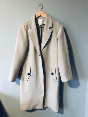 Bezowy nude płaszcz H&M XS 34