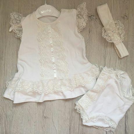 Крестильный набор, костюмчик для девочки до 4 мес