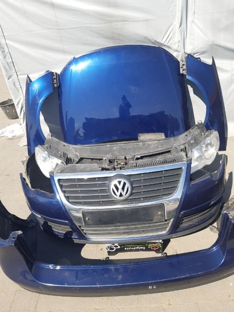 Kompletny przód Volkswagen Passat B6 granatowy maska zderzak błotniki