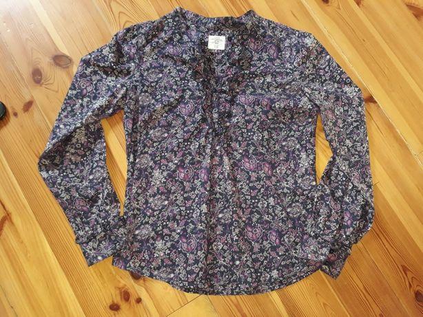 H&M bluzka fioletowa w kwiatki żabot 38