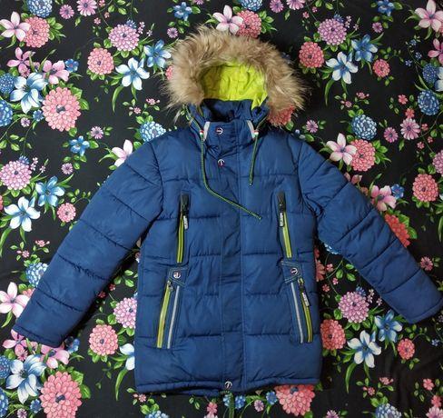 Синій пуховик на 10-12 років / зимова куртка / пальто