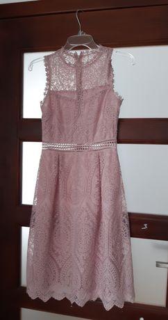 Koronkowa sukienka, pudrowy róż r.34 XS
