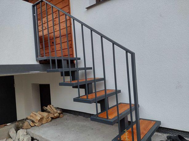 Schody metalowe drewno ocynk plus RAL