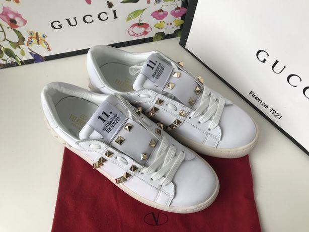 -% Valentino studded białe sneakersy złote ćwieki od reki 37