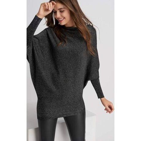 Orsay nowy asymetryczny sweter z połyskiem rozmiar M