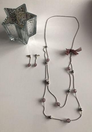 Komplet posrebrzanej biżuterii kolczyki + naszyjnik