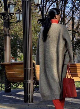 Теплый кардиган вязаный длинный Оверсайз Пальто шерсть