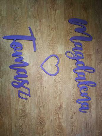 Napis drewniany fioletowy