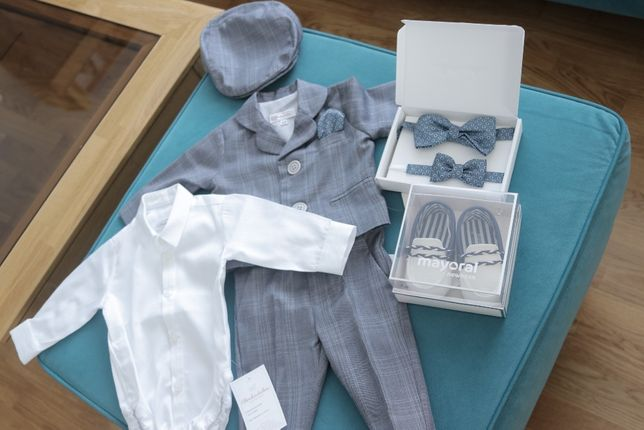 Ubranko do chrztu dla chłopca Abrakadabra Olaf r. 62 + buty Mayoral 18
