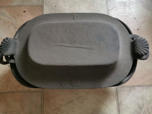 Gęsiarka żeliwna kociołek brytfanna grill