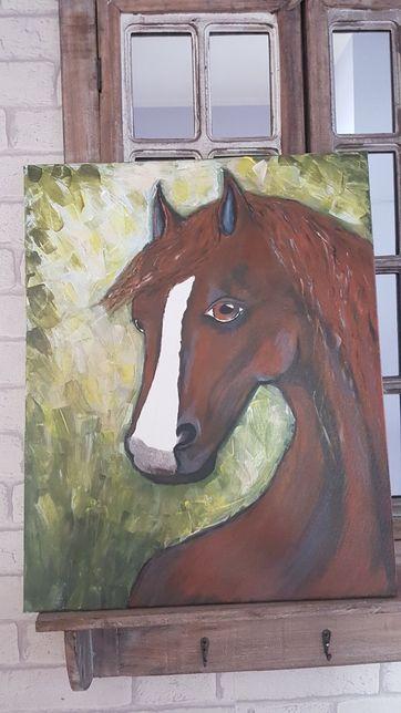 Obraz ręcznie malowany, akryl, koń, obraz na prezent, płótno 40×50cm