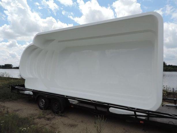 BASEN ogrodowy poliestrowy biały 7,00 x 3,00 x 1,50 z osprzętem