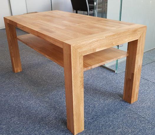 Stolik kawowy, ława z półką, stolik drewniany dębowy