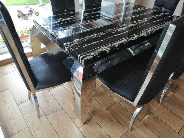 Stół z krzesłami Bellacasa jadalnia glamour