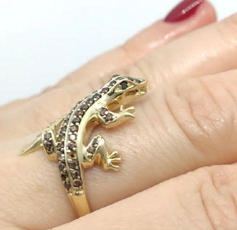 Золотое кольцо ящерица 585
