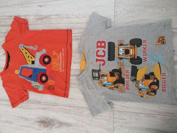 Koszulka t-shirt podkoszulek chłopięcy koparka dzwig r. 98
