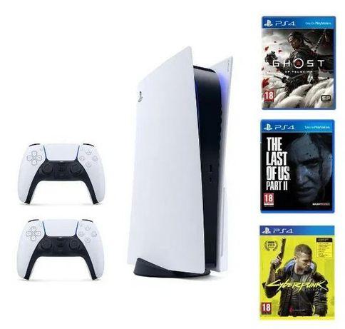 Mega zestaw - konsola Sony PS5 Playstation 5 + 2 Pady + 3 gry