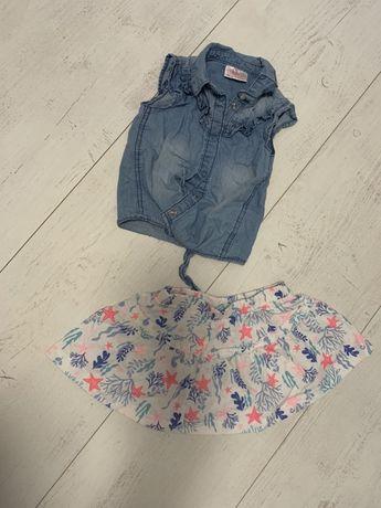 Komplecik koszula jeansowa i spodniczka dla dziewczynki
