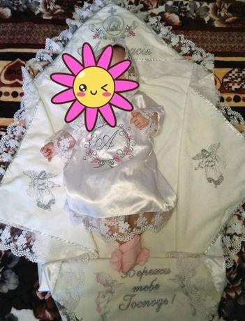 Крестильная рубашка. На крестины. Платье на девочку 3-6 месяца