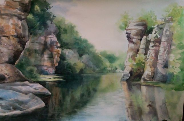 Картина Акварель - Скалы над рекой - художник Оксана Шашкова