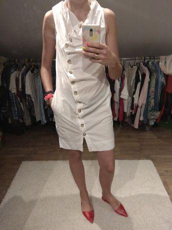 Sukienka biała lato guziki boho etno r. M midi