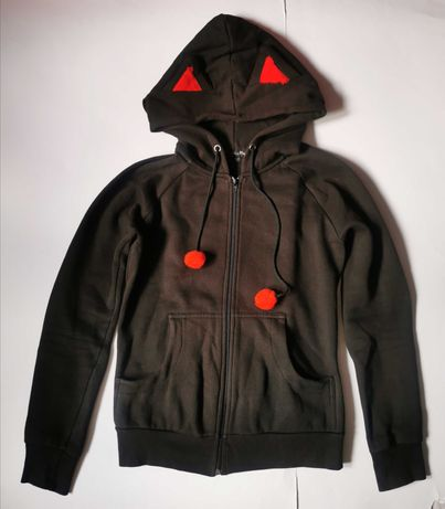 Bluza z kapturem kot PAPERCATS z uszkami kota r. M punk rock gothic