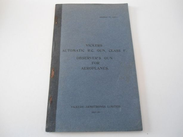 Manual de Instruções da Vickers Automatic RC Gun, Class F (1931/1932)