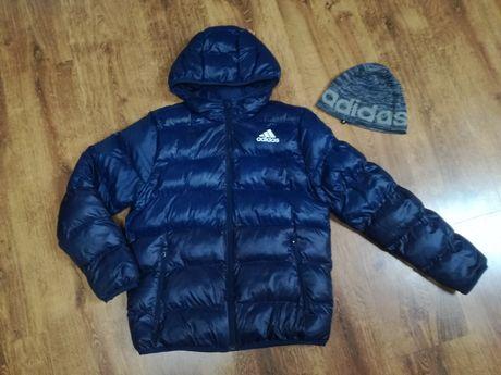 Puchowa ciepła kurtka zimowa Adidas roz.158 + czapka Adidas
