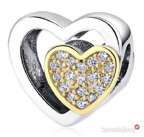 Srebrny charms serce kwitnąca miłość rower bransoletki ślubnej Pandora