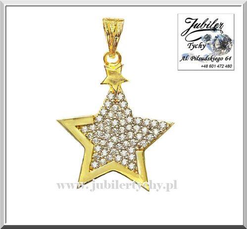 Złota zawieszka gwiazdka z cyrkoniami złoty wisiorek gwiazda Au585