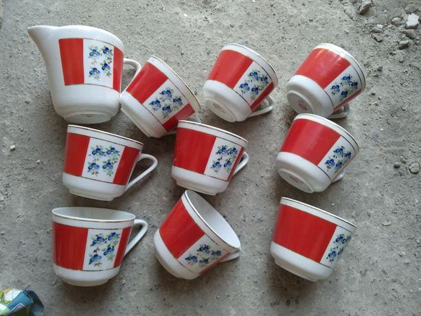 Чайный набор Довбыш чашки молочник посуда сервиз ссср