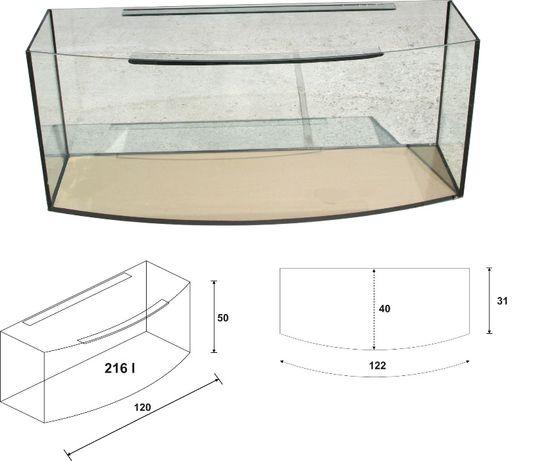 Akwarium 120x40x50 owalne 220 litrów