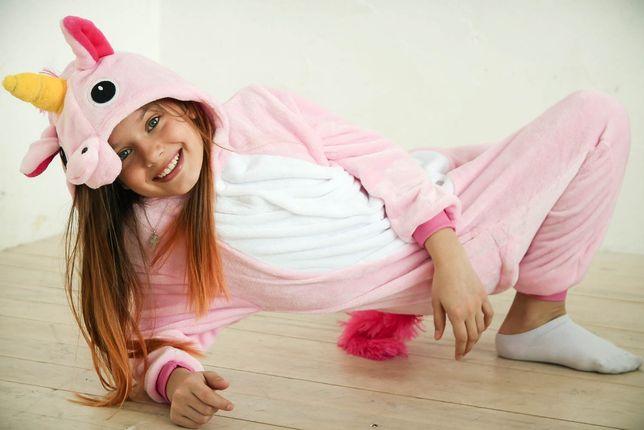 Детская пижама кигуруми • единорог розовый радужный панда футужама
