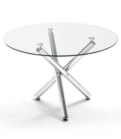 Mesa redonda em vidro temperado com 6 cadeiras