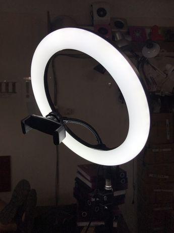 Кольцевая светодиодная селфи лампа 26см с держателем для телефона