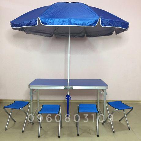 Стол для пикника УСИЛЕННЫЙ + 4 стула. Столик + ЗОНТ + 6 стульев раскла