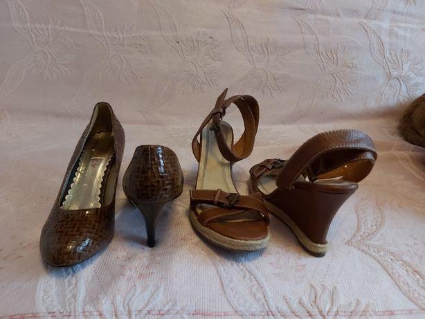 Dwie pary butów rozmiar 38 stan idealny koturny i szpilki brazowe