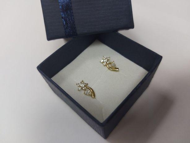 Złote kolczyki w kształcie kwiatków z cyrkoniami, próba 585