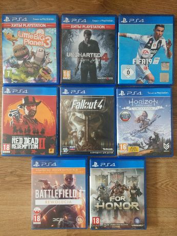 Диски PS4 Fifa 19 Fallout 4 RDR2 For Honor LittleBigPlanet 3