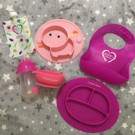 Посуда детская для девочки, силиконовая посуда детская