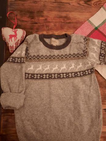 Sweterek 128 lama 80% poliamid 20%