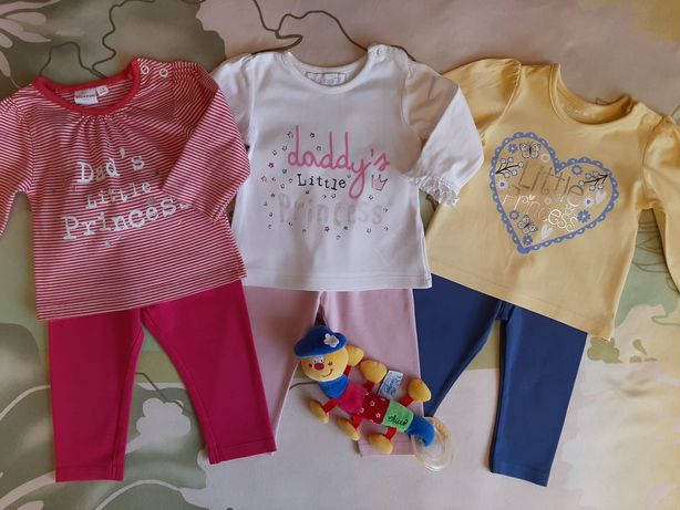 Пакет одежды для девочки на 3-6 мес. Кофточки,лосины,ромперы,тапули.