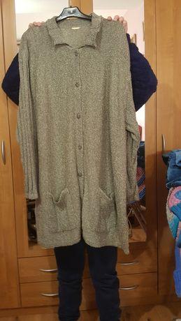 Sweter kardigan beżowy, bukle, rozmiar 58, 60